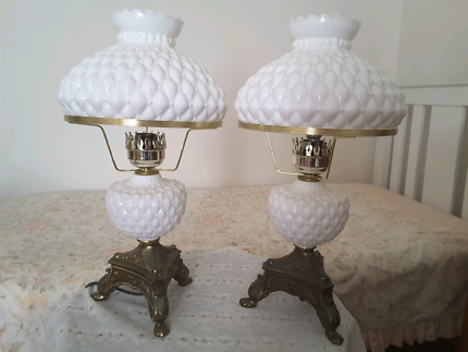 Crystal bedside lamp pair x2 table desk lamps gumtree pair vintage white milk glass bedside table lamps altona aloadofball Images