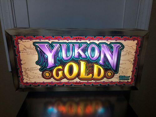 YUKON GOLD SLOT MACHINE GLASS LIGHTED BOX CASINO SIGN GAMGLING