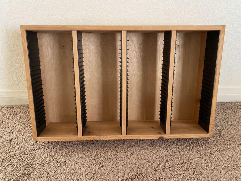 Vintage Wood CD Shelf Storage Rack Holder For 100 CD Disc Case