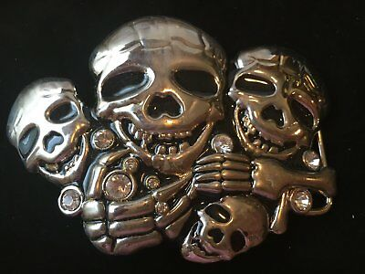 Metal Skulls Rhinestones Belt Buckle