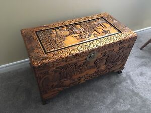 REDUCED: Hand carved wood chest / trunk / blanket box