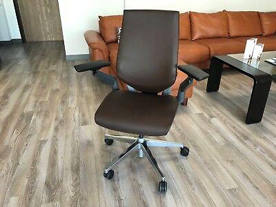 Steelcase Gesture Office Chair Adjustable Elmosoft Espresso Dark Brown Leather