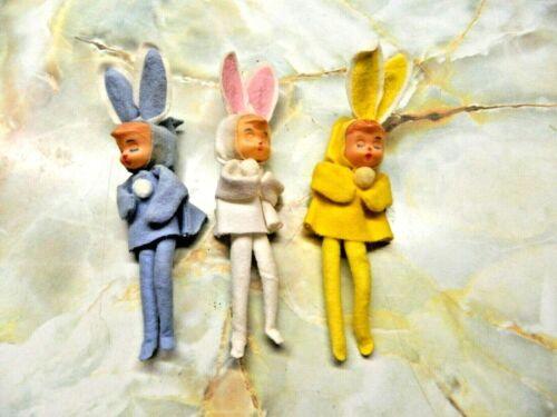 VTG Felt Easter Bunny Rabbit Japan Knee Hugger Ornaments - Set of 3  LOWER PRICE