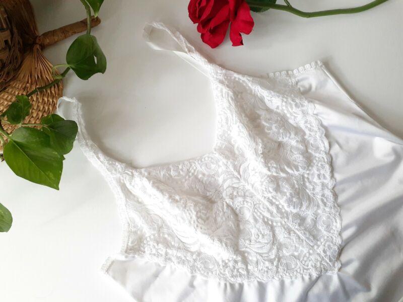Vintage Vanity Fair White Nylon Camisole Size 38 Bust