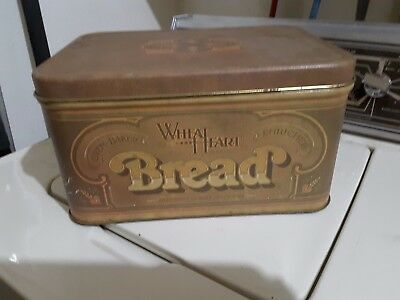 Vintage Large Wheat Heart Brand Bread Tin Advertising Green Can 1977 Nice Decor Large Heart Tin