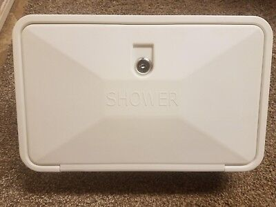 WHITE RV Outside Outdoor Exterior Shower Box Set Hand Held Sprayer Holder