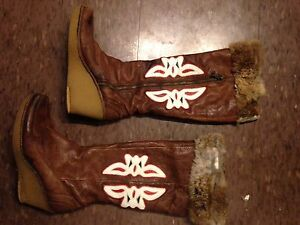 Vintage leather and fur boots