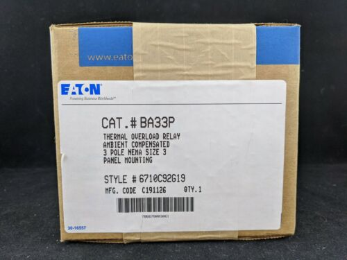 Eaton BA33P Thermal Overload Relay 3 Pole Size 3