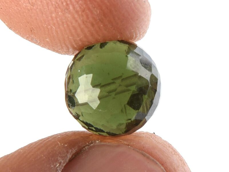 1.20g bead DRILLED MOLDAVITE FACETED CUTTED GEM 10mm #BRUS1800
