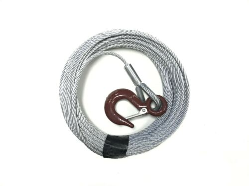 """7/32"""" x 50 ft Galvanized Wire Rope Winch Cable with 1 Ton Eye Hoist Hook"""