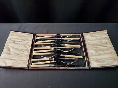 Vintage NAPOLEON Bakelite Ivory /& Silver Band Handle DessertSalad Fork 7 Set of 5 Italy