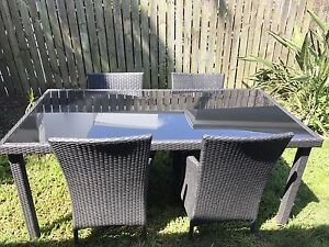 Outdoor wicker setting - glass table and wicker chairs Morningside Brisbane South East Preview