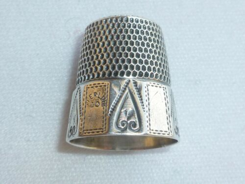 "Antique Simons Brothers Sterling Silver Thimble ""Hearts on Panels"" Size 10 1890s"