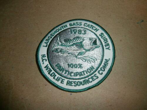 Vintage 1983 Largemouth Bass Catch Survey Patch NC Wildlife Resources Comm