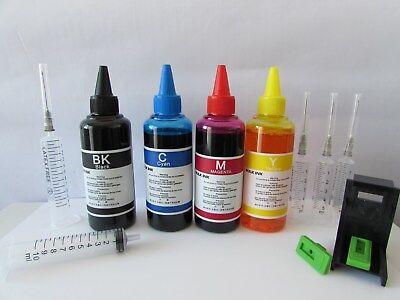400 kit inchiostro per ricarica cartucce  stampante hp 62 nero e colore + refill