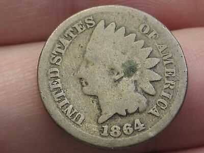 1864 CN Copper Nickel Indian Head Cent Penny- Good Details