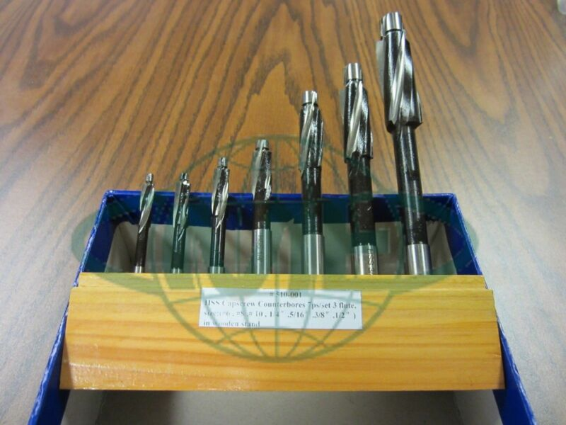 "7pcs/set Cap Screw Counterbore Set, #6 up to 1/2"", part# 510-001---new"