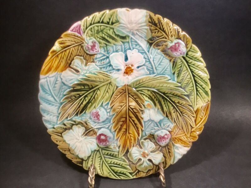 Antique French Majolica Strawberries and Flowers Plate c.1800