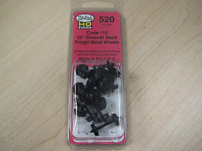 """Kadee HO Scale Metal Wheelsets - #520 33"""" smooth-back RP-25 wheels (12 sets)"""