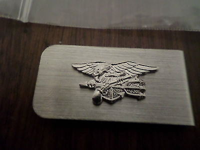 U.S MILITARY NAVY SEALS SILVER ENLISTED METAL MONEY CLIP U.S.A MADE - Navy Money Clip