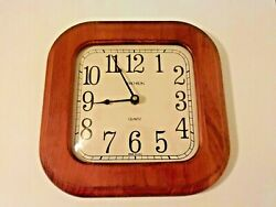 VTG VERICHRON WALL CLOCK☆ WOOD *QUARTZ☆ 10.5×10.5☆ MADE IN USA ☆ WORKS GREAT!
