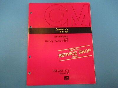 John Deere Operators Manual Om-ga11172 275 Rotary Snow Plow Issue I6 M4996
