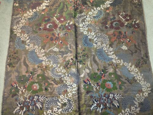 ANTIQUE 19th/ 20th c CHINESE BROCADE SILK PANEL EMBROIDERED EMBROIDERY JAPANESE
