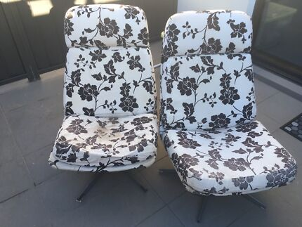 Ikea black and white floral armchairs