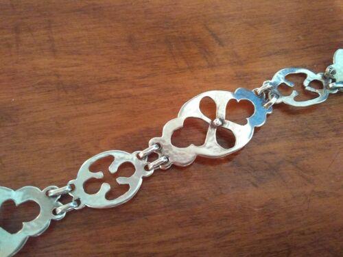 Vintage Sterling Silver Modernist Hammered Link Bracelet 10.9 Grams