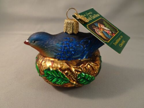 """NOS w Tag 2003 Old World Christmas OWC BLUEBIRD IN NEST 2.5"""" Hand Painted Glass"""