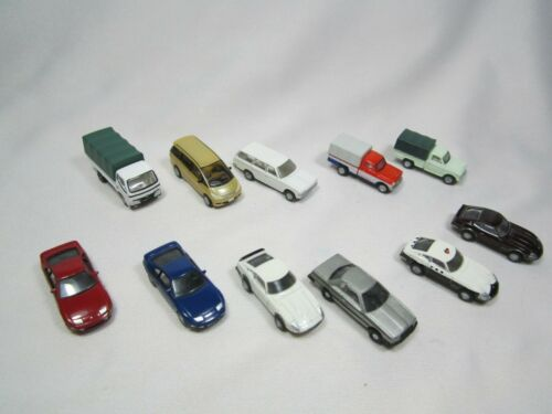 N scale TOMYTEC  lot of 11 cars, sedan, pick up truck, van, truck