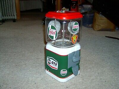 Oak Acorn Castrol Oil Restored Gumball Machine with Vintage Keychain