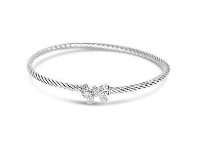 Diamond Bow Bangle Bracelet (DAVID YURMAN 3MM BOW DIAMOND STERLING SILVER BANGLE BRACELET)