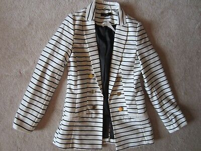 WOMENS H&M WHITE DARK STRIPED CLASSY BLAZER JACKET COAT SIZE 4 US 34 EUR NEW