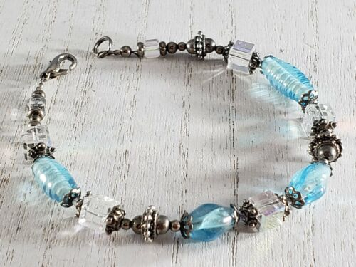 Silver Tone AB crystal Square Bead Blue  Glass Beaded Bracelet GORGEOUS
