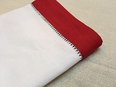 18 Inch Sq White Red Border Christmas Hemstitch Linen Cloth Napkin Set of 4 - Red Cloth Napkins