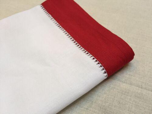 18 Inch Sq White Red Border Christmas Hemstitch Linen Cloth