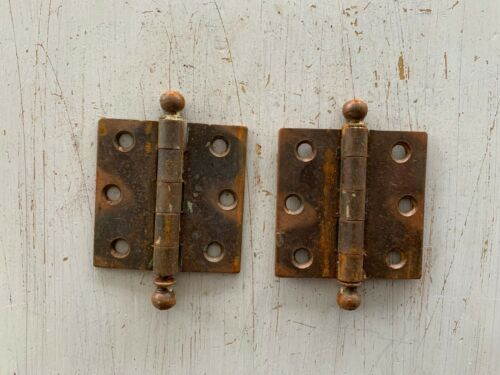 "1 Pair Vtg Japanned Door Hinge 2 1/2"" x 2 1/2"" copper flash ball finials 128-20J"