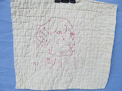 Antique Redwork Victorian era 1 Dog face Embroidered Quilt Block