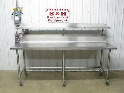 90 Stainless Steel Heavy Duty Roll Under Work Prep Table W Over Shelf 7 6