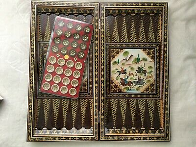 Persian Handcrafted Khatam Wooden Backgammon Set  Board+Chips Backgammon 19.5""