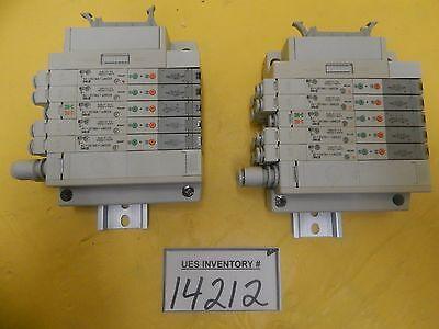 Smc 5-port Pneumatic Manifold Lot Of 2 Sz3360-5nloz-c6 Used Working