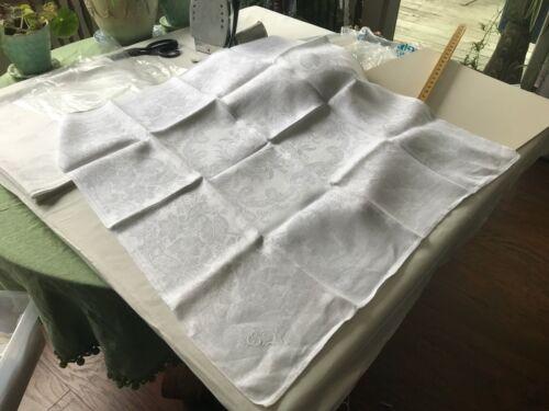 "4/ 30"" x large heavier Linen damask napkins hand embroidered initials ER? mended"