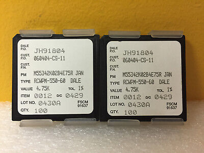 Vishay M55342k02b4e75r Lot Of 200 4.75 Kohm Thin Film Resistors. New
