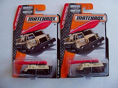 MATCHBOX MILITARY DIECAST LOT OF 2 ATTACK TRACK MISSILE TANK SCUD DESERT TAN NIP