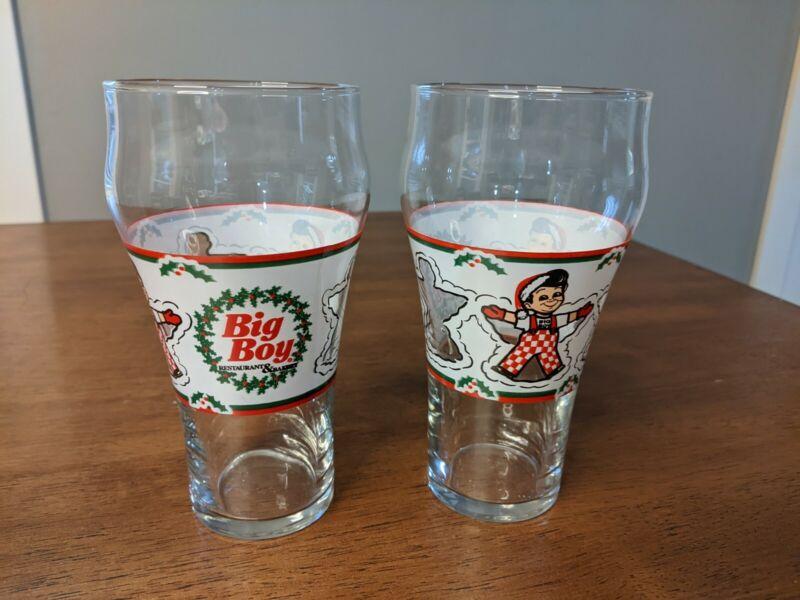 VINTAGE BIG BOY RESTAURANT COCA COLA Set of 2 Drink Glasses Christmas Snow