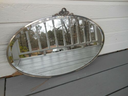 PJ-207 Older Pretty Oval Narrow Metal Frame Art Deco W/Topper Mirror F/England