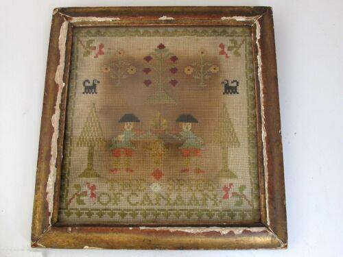 "Antique Sampler "" The Spies of Cannan"" Original Frame"