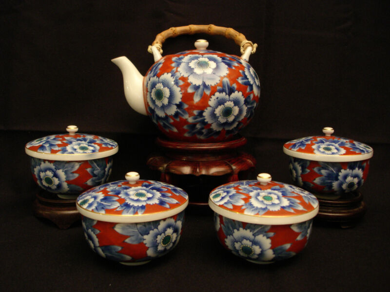 MARKED Fukagawa JAPANESE MEIJI PERIOD TEA POT / COVERED CUPS SET