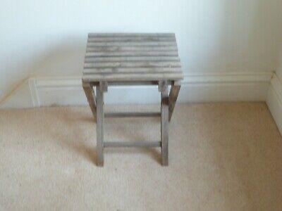 Vintage Folding Aged Teak Slatted Seat Stool/Seat 29x27cm Seat, 37cm Height
